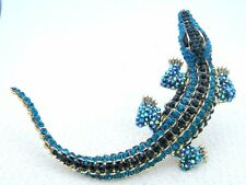 Large Gold Tone Blue Black AB Rhinestone Alligator Pin Brooch Enhancer Pendant