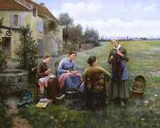 Sewing Circle By Daniel R Knight 8x10 Print Country Women Outdoors Talk Art  194
