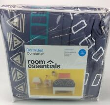 Room Essentials Twin Xl Dark Blue Medallion Reversible Dorm Bed Comforter Ai1