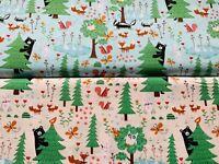 Woodland Animals Fabric, Fox Fabric, Childrens Cotton Fabric, Nursery Fabric