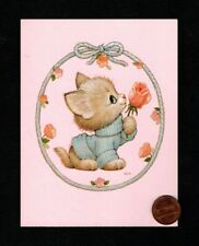 New listing VINTAGE MOREHEAD Kitten Cat Pink Rose Flowers - SMALL Blank Greeting Note Card