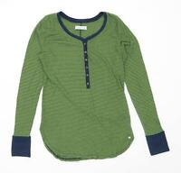 Abercrombie & Fitch Womens Size S Striped Cotton Blend Green Henley Top (Regular