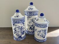 Set of 3 Blue and White Ceramic Floral Canister With Lid For Flour Coffee Sugar