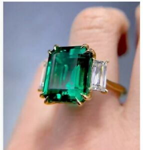 4Ct Emerald Cut Green Emerald Solitaire Engagement Ring 14K White Gold Finish