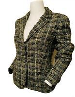 J Crew Size 8 Women's Green Tweed Wool Blend Metallic Blazer Jacket