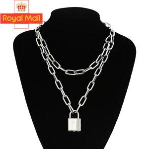 Lock Chain Necklace Layered Padlock Key Pendant Chunky Punk Women Unisex Jewelry