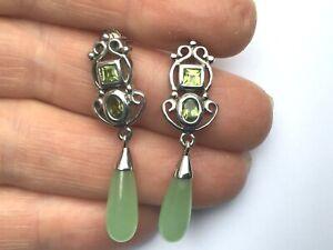 Pair of Silver Jade and Peridot drop earrings, very nice !!!