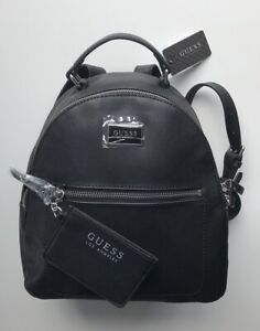New Guess RONNIE Backpack Black Shoulder Bag w/Card Case Set SF510431