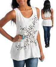 Women's White Floral Short Sleeve Blouse Sz. Med