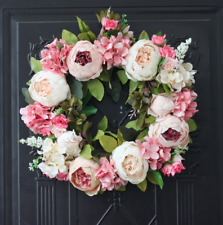 "Hand crafted silk flower artificial 12"" wreath"