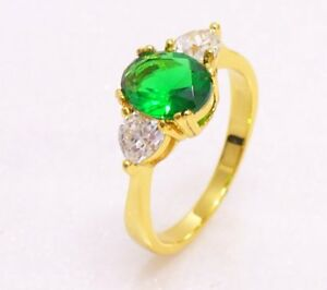 Women Ring Size K L N P Q 24K Gold Plated Green Navy Blue Simulated Diamond UK