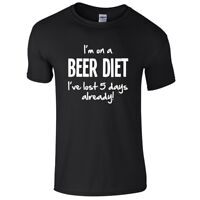 I'M ON A BEER DIET Mens T-Shirt S-3XL Funny Printed Alcohol Joke Novelty Top