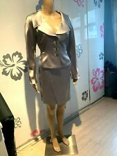 VINTAGE TAHARI Silver Silk 2 Piece Metallic Silver Gray Skirt Suit Womens Size 4