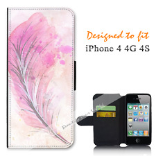 Apple iPhone 4 4G 4S Wallet Flip Phone Case Cover Feather Paper Y00958