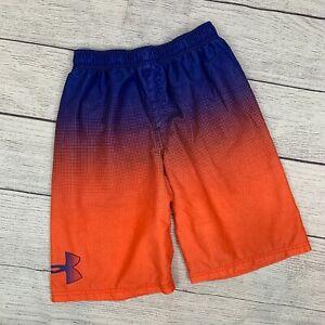 Under Armour XL Swim Trunks Boy's Youth YXL Orange Blue Inner Liner