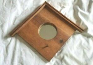 Wooden Birdhouse w/Round Mirror Wall Hanging