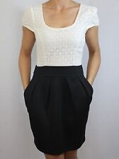 RED HERRING @ DEBENHAMS cream floral lace black stretch shift mini dress size 8