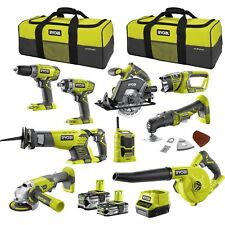 Ryobi One+ 18V 9 Piece Mega Kit 2 Carry Bag Blower Drivers/Grinder /Drill New Oz