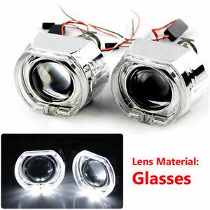 "2.5"" LED Angel Eye HID Bi-Xenon Projector Lens Headlight Kit Red Devil Demon Eye"