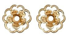Earring Jackets Flower  Gold over Silver Flower Earring Jackets