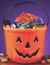 Pumpkin Trick or Treat Plastic Bucket Halloween Decor Prop Candy Bowl NEW