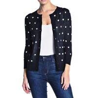 NWOT Halogen Black White Polka Dot Cardigan Sweater Women's Size Large Petite