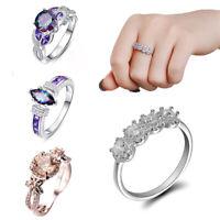 Fashion Jewelry Women Wedding Rings Cut Mystic Copper Crystal  Ring Sz 6-10 Gift