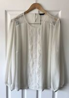 MARKS AND SPENCER M&S CREAM VINTAGE SCALLOP LACE SHEER BLOUSE TOP UK 20