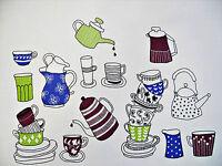 VINTAGE TEA TIME ART WHITE BLUE GREEN PURPLE COTTON KITCHEN TEA TOWEL