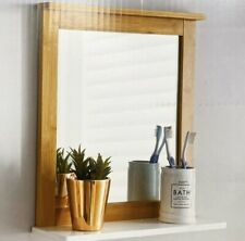 Maine Bathroom bamboo Frame Mirror Wall Mounted with Cosmetics Shelf