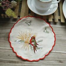 Vintage Style Chic Red Thread Border Bird Embroidery Round Cotton Doily