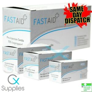 10 - 100 x 70% IPA ALCOHOL SWABS PRE-INJECTION ⭐FASTAID BRAND⭐NAILS,PIERCINGS