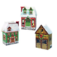3 CHRISTMAS VILLAGE BOXES CENTREPIECES FAVOR GIFT PARTY TABLE DECORATION HOUSE