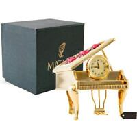 24K Gold Plated Vintage Piano Desk Clock with Red Crystals By Matashi