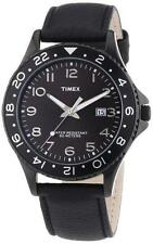 New Timex Men Black Leather Band Date Dress Watch 45mm T2P176 $60