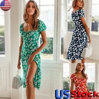 Women Retro Summer Boho Floral Beach Sundress Square Neck Slit Midi Dress Party