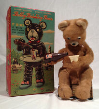 BOBBY DRINKING BEAR BATTERY OP TOY WITH COLORFUL ORIGINAL BOX 1950's YONE JAPAN