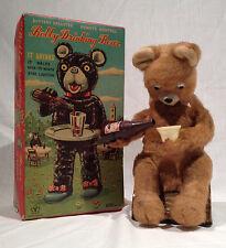 PICNIC BEAR BATTERY OP TOY, & A BOBBY DRINKING BEAR BOX 1950's YONE JAPAN