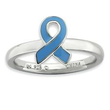 Sterling Silver Blue Awareness Ribbon Ring Size 9 #7577