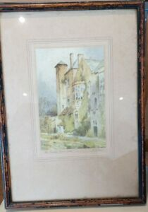 The Bishops Palace Wells Signed Print  Framed coloured Etching 1910-20 F Robson