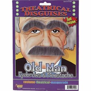 Old Man Eyebrows & Mustache Set Gray Synthetic Hair Costume Disguise Set