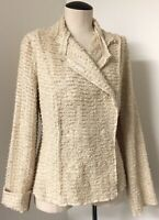 CABI LOVELY CREAM BOUCLE KNIT STYLE JACKET SWEATER HIDDEN SNAP FRONT SIZE - M