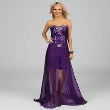 New Ignite Evenings Purple 4 Allover Sequin Embellished Twofer Evening Dress