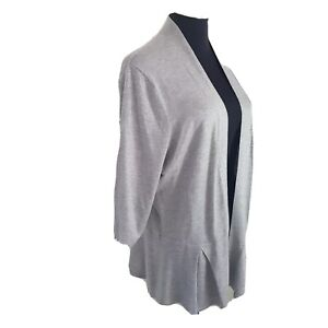 Jacqui E Ladies Grey light knit open jacket Size L Pleated peplum style at hem