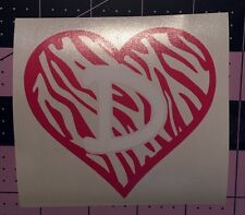Zebra Heart With Initial Decal For Your Yeti Rambler Tumbler