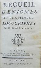 *** RARE : RECUEIL D'ENIGMES ET DE QUELQUES LOGOGRIPHES - BERTHELIN - E. O. 1746