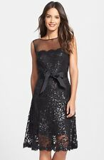 $348 Tadashi Shoji black Illusion Yoke Embellished Lace A-Line Dress NWT SZ 12P