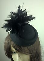 black felt pillbox hat feather flower fascinator wedding bridal race vintage