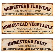 Homestead Garden Seed Co TIN SIGN Set of 3 metal vintage rustic home wall decor