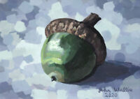 Original Still Life Painting - Acorn - Tree Nut - (5 x 7 inch) by John Wallie